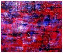 Acrylmalerei, Lila, Abstrakt, Blau